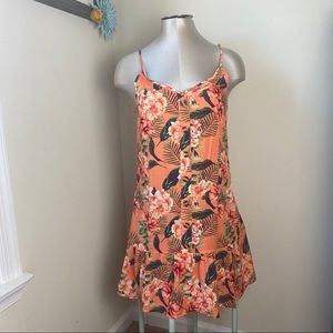 BOHO summer dress floral print button front SZ S